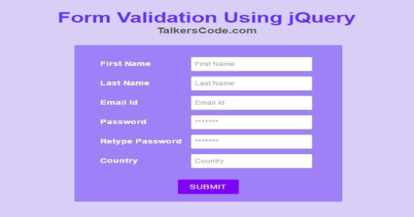 Form Validation Using JQuery On TalkersCode